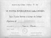 Stevan Rakić's diploma for​guitar in the Motola Italy competition