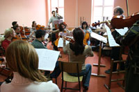 String Orchestra rehearsal for the In honor of the instrument 2005 concert