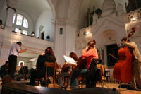 The rehearsal for the In honor of the instrument 2005 concert in Novi Sad Synagogue